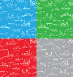 Set of seamless nautical patterns vector
