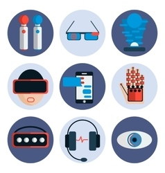 Virtual reality flat icon set vector