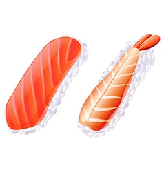 A meat and a fish sushi vector image vector image