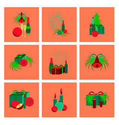 Assembly flat christmas tree bells vector