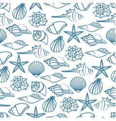 blue line seamless pattern of seashells vector image vector image