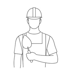 Builder masonprofessions single icon in outline vector