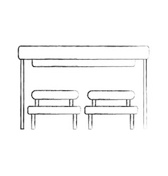 Bus stop with bench chair waiting vector