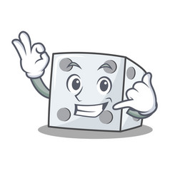 Call me dice character cartoon style vector