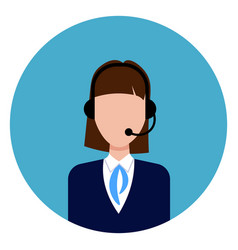 call service support female worker icon round blue vector image