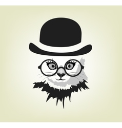 Cat in the hat and glasses vector
