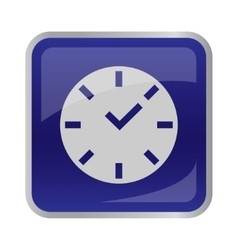 Clock icon on square button vector