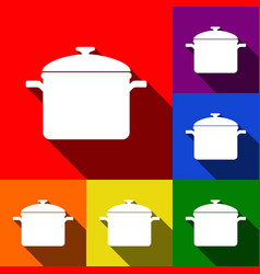 Cooking pan sign set of icons with flat vector