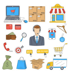 e-commerce and online shopping icons set vector image vector image