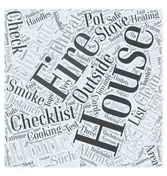 Fire safety checklist for home word cloud concept vector