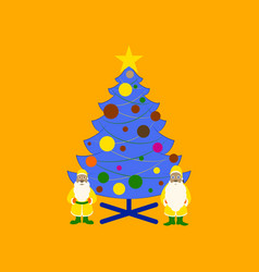 flat on background of christmas tree santa claus vector image vector image