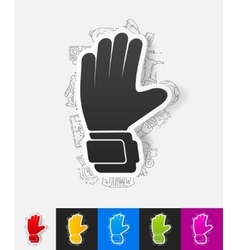 Gloves paper sticker with hand drawn elements vector