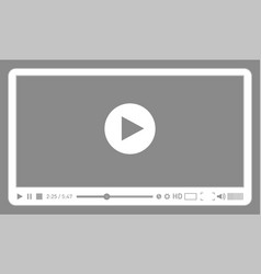 Grey video player template for web and mobile vector