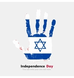 Handprint with the flag of israel in grunge style vector
