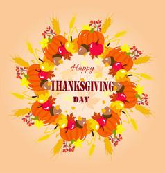 happy thanksgiving wreath vector image
