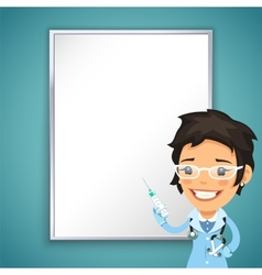 Lady Doctor Front of the Board with Syringe vector image vector image