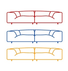 Living room sofas in different colors vector image