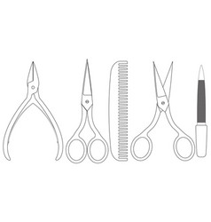 manicure set nail care accessories vector image