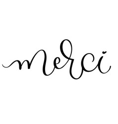 Merci vintage word text calligraphy vector