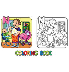 Nanny with children coloring book alphabet n vector
