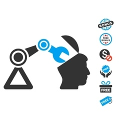 Open head surgery manipulator icon with free bonus vector