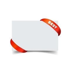 Paper greeting card with curved red gift ribbon vector image vector image