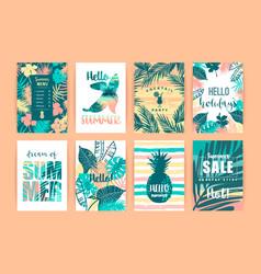 Set of summer tropical designs templates vector