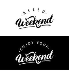 Set of weekend hand written lettering vector image