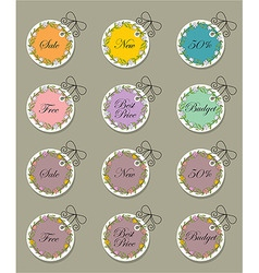 set tags with flower vector image