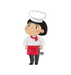 Smiling girl in cook uniform with ladle vector