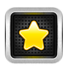 Square chrome metal button with yellow star icon vector