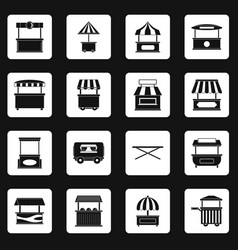 Street food truck icons set squares vector