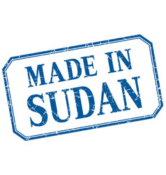Sudan - made in blue vintage isolated label vector