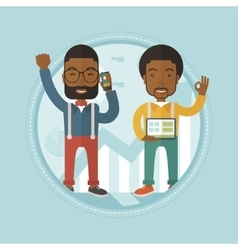 Two businessmen celebrating business success vector