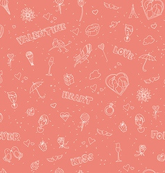 Valentines Day seamless pattern Sketch style vector image vector image