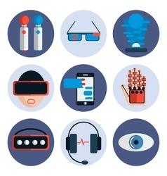 Virtual reality flat icon set vector image