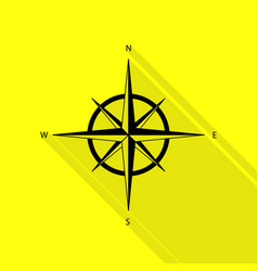 Wind rose sign black icon with flat style shadow vector