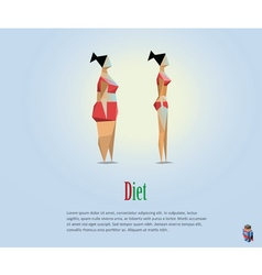 Polygonal of diet fat and slim girl vector