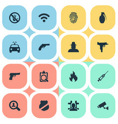 Set of simple offense icons vector