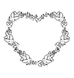 Heart floral frame icon vector
