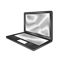 Scribble laptop cartoon vector