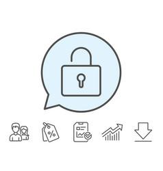 Lock line icon private locker sign vector