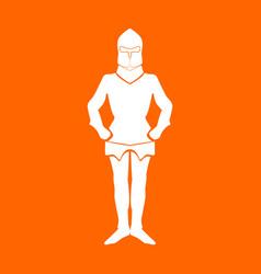 Armour white icon vector