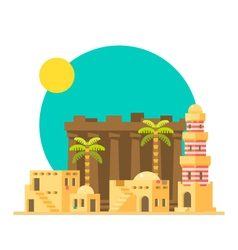 Flat design of karnak ruins in egypt vector