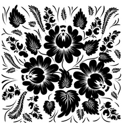 Black flowers on a white background vector