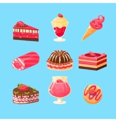 Desserts with strawberry collection vector
