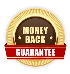 Golden medal money back guarantee vector