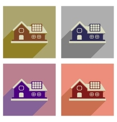 Concept of flat icons with long shadow eco-house vector
