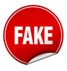 Fake round red sticker isolated on white vector