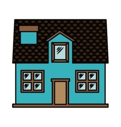 House exterior front isolated icon design vector